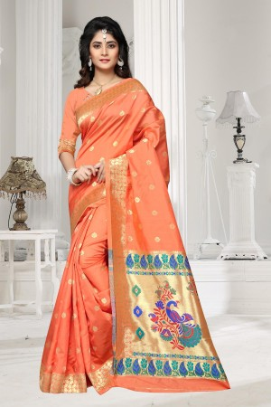 Orange Art silk Jacquard Saree