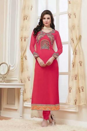 Pink Georgette Embroidery Salwar Kameez