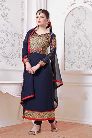 Blue Georgette Embroidery Salwar Kameez