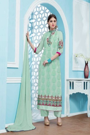 Mint Green Georgette Embroidery Salwar Kameez