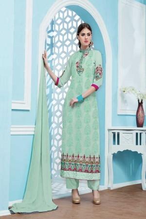 Mint Green Georgette Embroidery Salwar Kameez