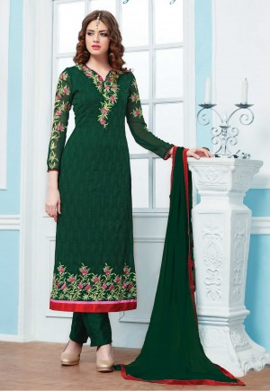 Turquoise Green Georgette Embroidery Salwar Kameez