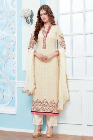 Pearl White Georgette Embroidery Salwar Kameez