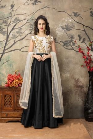 Black Taffeta Silk Embroidery Zari Work  Anarkali Suit