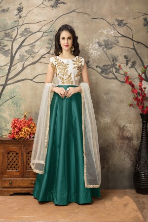 Dark Green Taffeta Silk Embroidery Zari Work  Anarkali Suit