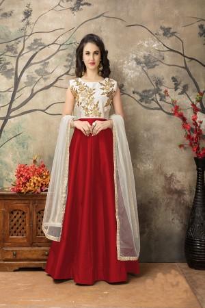 Red Taffeta Silk Embroidery Zari Work  Anarkali Suit