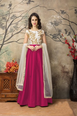 Rani Pink Taffeta Silk Embroidery Zari Work  Anarkali Suit