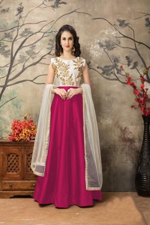 Rani Pink Taffeta Silk Embroidery Zari Work  Anarkali Suit