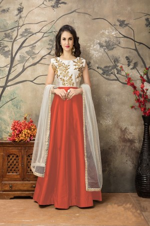 Orange Taffeta Silk Embroidery Zari Work  Anarkali Suit
