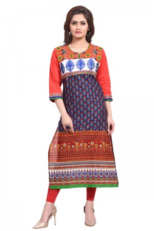 Marvelous Cotton Printed with Embroidery Work Kurti