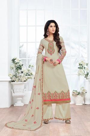 Mehendi Georgette Embroidery Salwar kameez