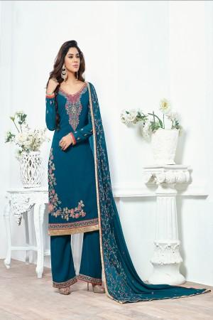 Marin Blue Georgette Embroidery Salwar kameez