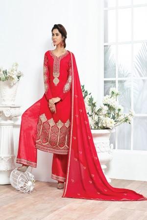 Red Georgette Embroidery Salwar kameez