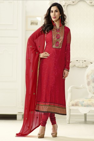 Red Brasso Heavy Embroidery on Neck & Sleeve Salwar kameez