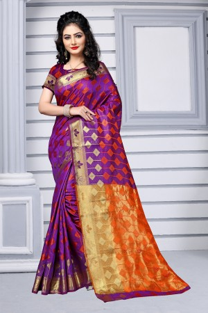 Violet Silk Saree