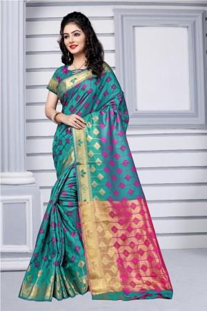 Turquoise Green Silk Saree