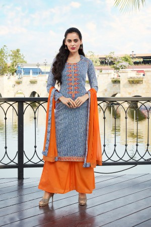 Multi Color  Pure Cotton Print with Embroidery Dress material