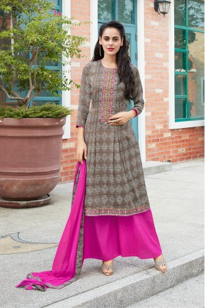 Coffee Pure Cotton Print with Embroidery Dress material