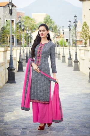 Black Pure Cotton Print with Embroidery Dress material