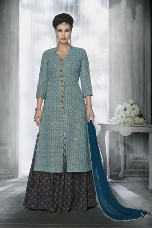 Light Blue Georgette Heavy Embroidery Top with Jacket Style Salwar Kameez