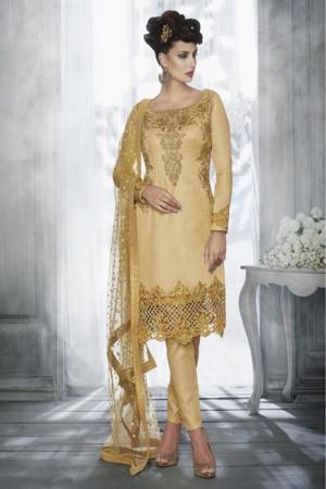 Beige Tussar Silk  Heavy Embroidery Zari Work Salwar Kameez
