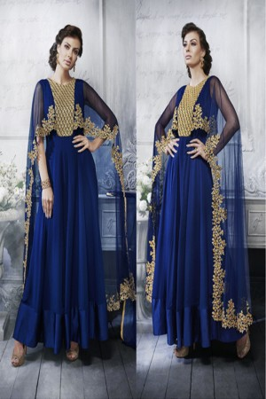 Navy Blue Georgette & Net Heavy Embroidery Zari Work  Salwar Kameez