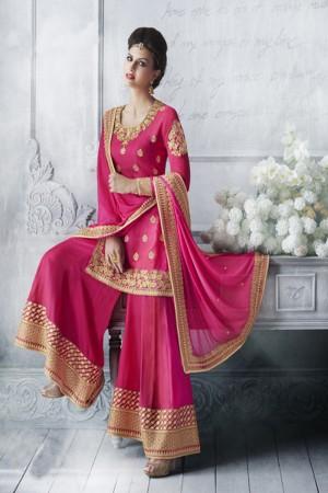 Light Pink Tussar Silk  Heavy Embroidery Zari Work Salwar Kameez