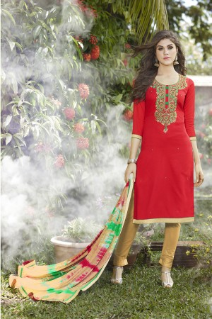 Red Jam Silk Embroidery with Hand Work Dress material