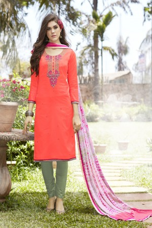 Orange Jam Silk Embroidery with Hand Work Dress material