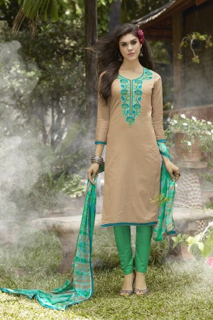 Beige Jam Silk Embroidery with Hand Work Dress material