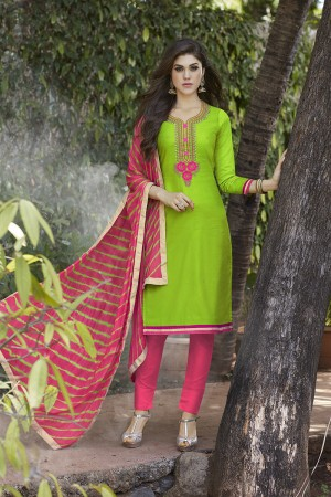 Light Green Jam Silk Embroidery with Hand Work Dress material