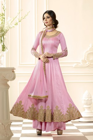 Pink Raw Silk Heavy Embroidery Anarkali Suit