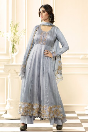 Grey Raw Silk Heavy Embroidery Anarkali Suit