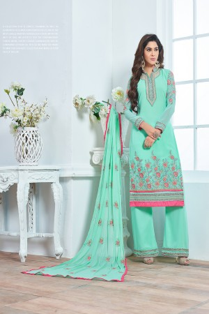 Turquoise Blue Georgette Heavy Embroidery Salwar Kameez