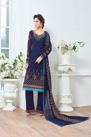 Blue Georgette Heavy Embroidery Salwar Kameez