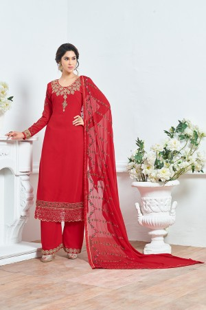Red Georgette Heavy Embroidery Salwar Kameez