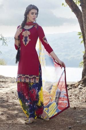 Maroon Cotton Heavy Embroidery Patiyala Suit