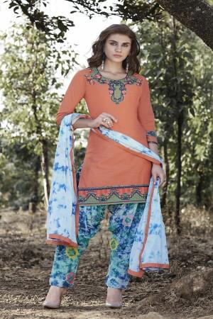 Orange Cotton Heavy Embroidery Patiyala Suit
