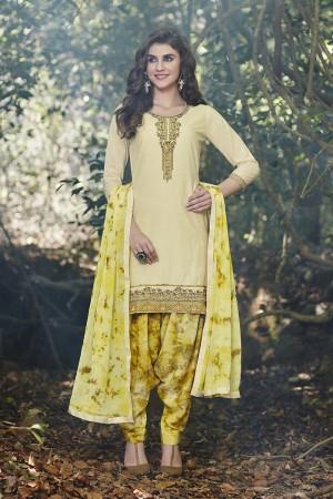 Cream Cotton Heavy Embroidery Patiyala Suit