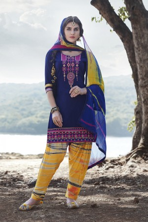 Navy Blue Cotton Heavy Embroidery Patiyala Suit
