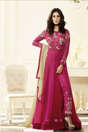 Rani Pink Georgette Heavy Embroidery Anarkali Suit