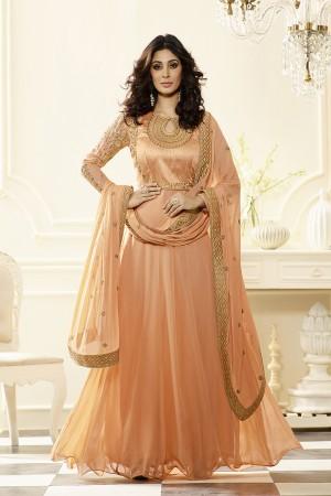 Orange Georgette Heavy Embroidery Anarkali Suit