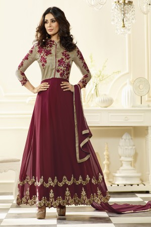 Maroon Georgette Heavy Embroidery Anarkali Suit
