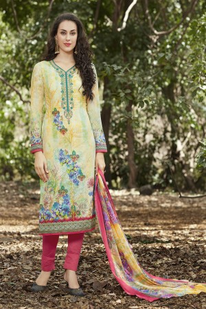 Multi Colour Cotton Embroidery Neck with Digital Print Dress Material