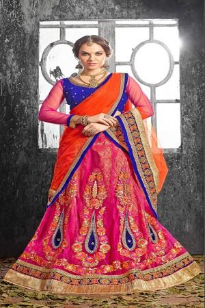 Bewitching RaniPink Jacquard Designer Heavy Embroidery Zari Work Lehenga Choli Lehenga Choli