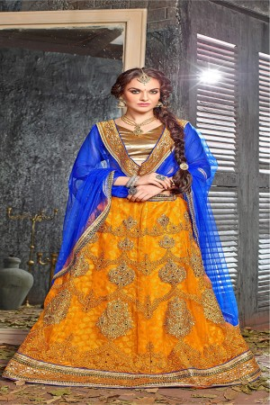 Picturesque Musterd Jacquard Designer Heavy Embroidery Zari Work Lehenga Choli Lehenga Choli