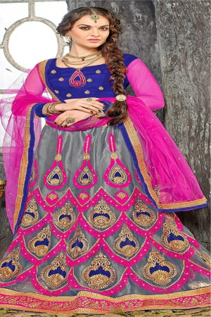 Refreshing Grey Jacquard Designer Heavy Embroidery Zari Work Lehenga Choli Lehenga Choli