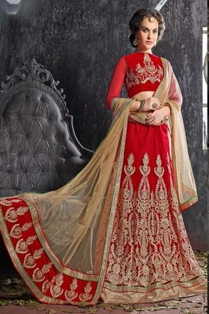 Bedazzling Red Jacquard Designer Heavy Embroidery Zari Work Lehenga Choli Lehenga Choli
