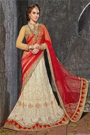 Gorgeous Offwhite Jacquard Designer Heavy Embroidery Zari Work Lehenga Choli Lehenga Choli
