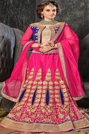 Splendiferous RaniPink Jacquard Designer Heavy Embroidery Zari Work Lehenga Choli Lehenga Choli